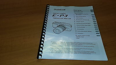 Olympus E-P3 Digital Camera Printed Instruction Manual User Guide 127 Pages A5