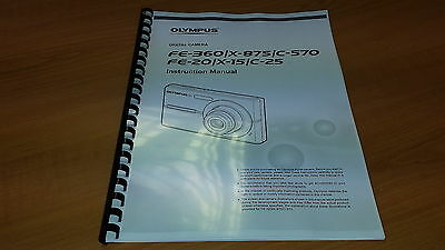 Olympus Fe-360 Digital Camera Printed Instruction Manual User Guide 58 Pages A5