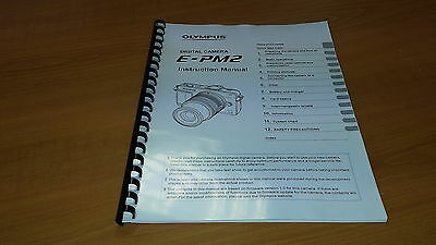 Olympus E-Pm2 Digital Camera Printed Instruction Manual User Guide 133 Pages A5