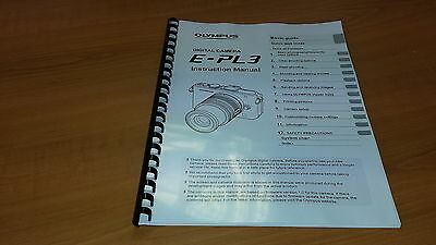 Olympus E-Pl3 Digital Camera Printed Instruction Manual User Guide 127 Pages A5
