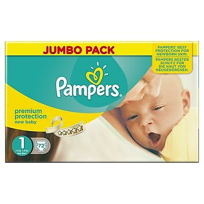 Pampers New Baby Jumbo Nappies - Size 1 (Newborn) Pack of 72 72 Size 1