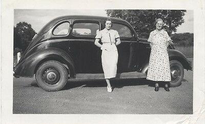 Original Vintage Photograph Of Two Women In Front Of Car