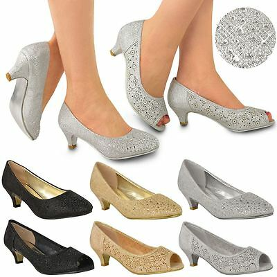 Womens Ladies Low Kitten Heels Court Shoes Open Toe Wedding Diamante Party Size