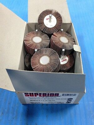 Box Of 10 New Superior Abrasives 10139 Mounted Flap Wheel 2.5X1X1/4 180 Grit (P4
