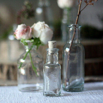 1 x Mini Glass Bottles With Cork Stopper - Tiny Vases, Drinks Wedding Favours