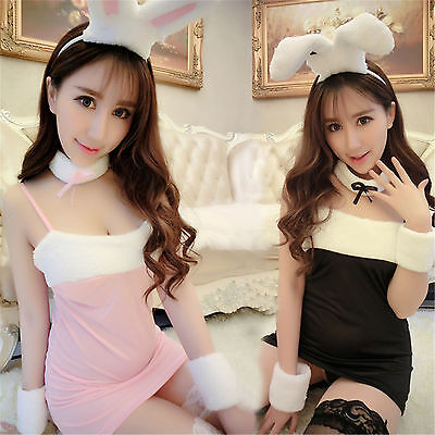Costume Completino Bunnies Bunny Nero Black Rosa Pink Sexy Cosplay Calze a Rete