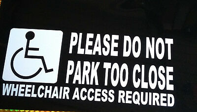 Wheelchair Access Required Parking Disabled Car Graphic Sticker White