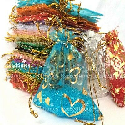 50pcs 7x9cm Organza Gift Bags Random Mixed Wedding Party Favour Packing Pouches
