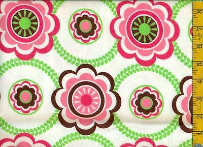 1/2 yard Springs FLANNEL Floral Circle Hot Pink Kelly Green Brown on White BTHY
