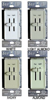 Dual Slide Variable Ceiling Fan Speed Control & Light Dimmer Switch Combo