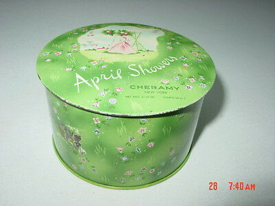 Vintage April Showers Powder Tin by Chermany Used EMPTY NO PUFF Makeup containe
