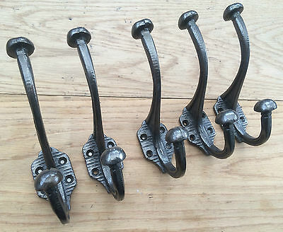 (3008Ai) 5 X Cast Iron Old Edwardian Style Large Heavy Shabby Chic Coat Hooks