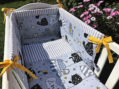 spacesaver bedding set cats grey and yellow 100%cotton made to order all sizes