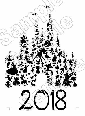 Disney Castle Characters 2017 Vacation Iron On Tshirt Pillowcase Fabric Transfer
