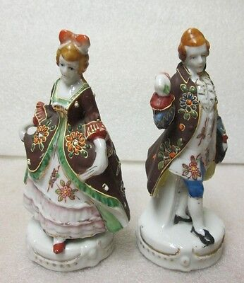 PAIR OF COURTING COUPLE LORD & LADY JAPAN SIGNED FIGURINES has JAPANESE MORIAGE!
