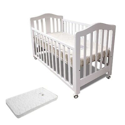 Classic Cot&AU made Innerspring Mattress Crib Baby Bed With Wheel Dropside White