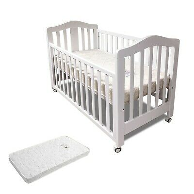 NEW 3 IN 1 Classic Cot With Innerspring Mattress Baby Crib Bed with Wheel WHITE