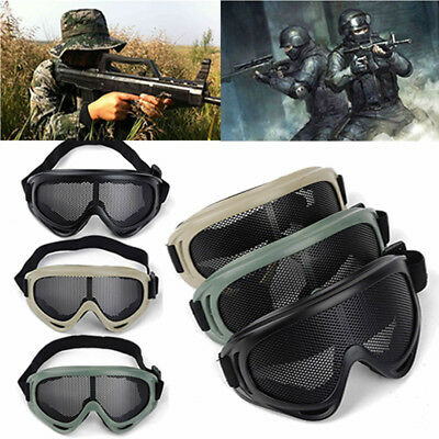 Tactical Airsoft Anti Fog Metal Mesh Big Goggles Eye Safety Protection Glasses