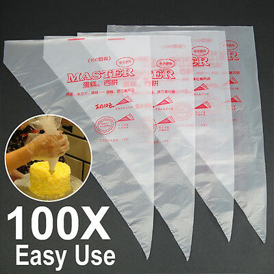 "100Pcs 13.7"" Plastic Disposable Icing Piping Cake Decorating Pastry Bags UK"