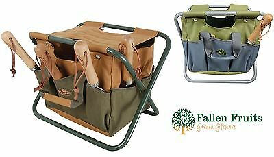 Fallen Fruits Garden Storage Tool Stool in Green & Brown or Green & Grey