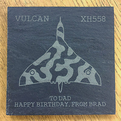 Personalised Vulcan XH558 Farewell Slate Coaster - Christmas, Dad Gift Present