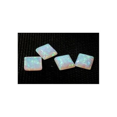 Lab Created Synthetic White Opal - Square Cabochon AAA Loose stone (4x4-12x12mm)