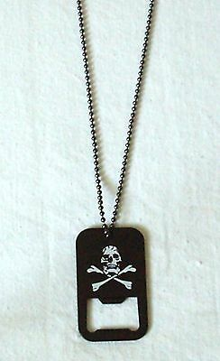 Halskette Skull & Bones Dog Tag mit Flaschenöffner Iron Cross Bottle Opener