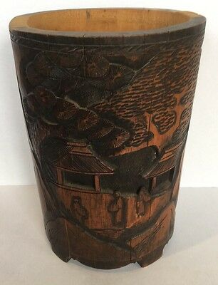 "Antique 10"" Chinese Hand Carved Wood Bamboo Brush Pot"