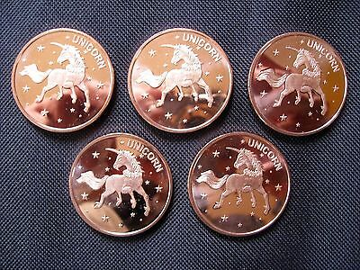 1 Ounce .999 Copper Round Unicorn(5 Coins)