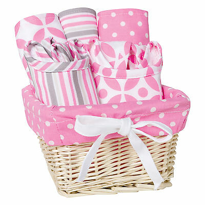 Feeding Basket Gift Set Lily 7 Piece Pink and white