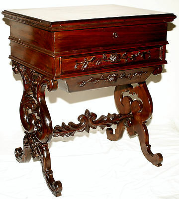 c1850 Classical Rococo Victorian work table, rosewood, NYC, acanthus, rose carve