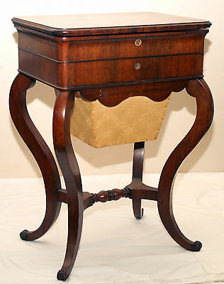 c1840 Louis Philippe Rococo Victorian sewing, work table, stand, rosewood, 29t