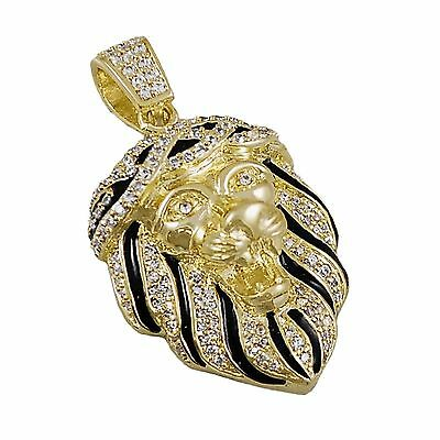 Iced Out Hip Hop 14k Gold Plated Mini Lion Head Lab Diamonds Pendant Charm Bling