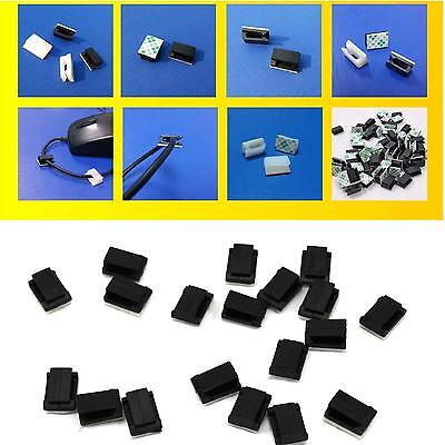 30Pcs Plastic Self-Adhesive Rectangle Holder Wire Ties Cable Clamps Clips Black