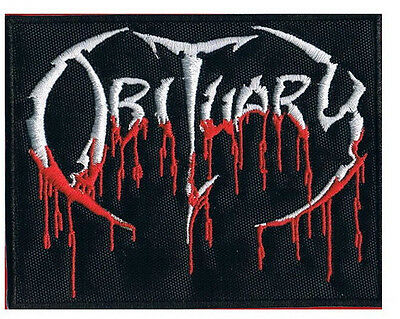 """OBITUARY Blood Drip Logo Iron On Sew On Death Metal Jacket Patch 3.4"""""""