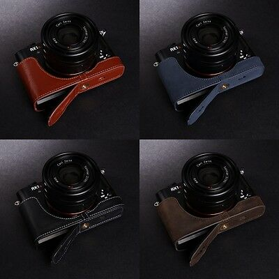 Genuine real Leather Half Camera Case Bag Cover for Sony RX1R II M2 4 Color