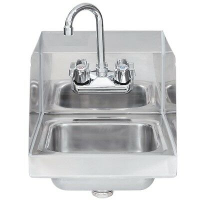 "Commercial Stainless Steel Wall-Mount Hand Sink with Side Splashes 16"" x 16"""
