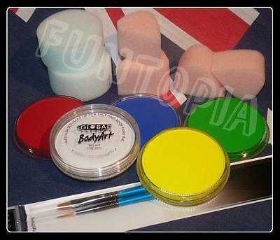 Global BodyArt Australia Day Face Painting Kit 5 x paints, brushes, sponges