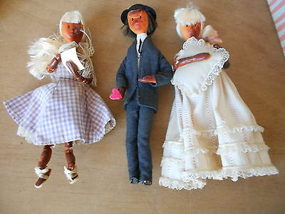 Lot of 3 VINTAGE  french PEYNET Collectibles Shabby DOLLS with BOXES made PARIS