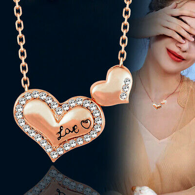 2019 Women Crystal Double Heart Choker Necklace Chain 18K Rose Gold Plated Gifts