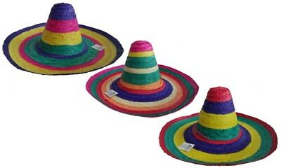 Adult Mexican Fiesta Rainbow Striped Sombrero Straw Hat With Chin Strap