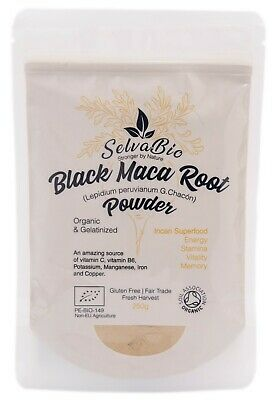 Organic Black Maca Root Powder Gelatinized, 100% Certified, 250g From Peru!
