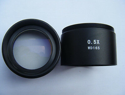 """0.5X Stereo Microscope Auxiliary Objective Lens Barlow Lens 1-7/8"""" 48mm W.D.165"""