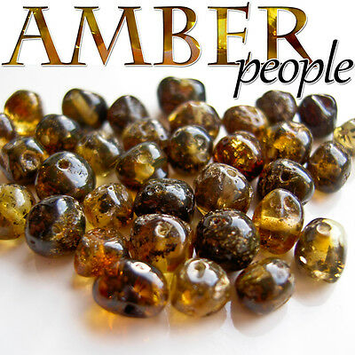 Authentic Baltic Amber Holed Loose Rounded Beads 10g *Forest Green*  4-6mm beads