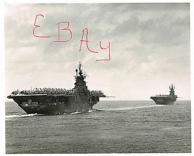 Wwii Usn 8X10 Photograph Of Uss Yorktown And Uss Shangri La Pto Action Look