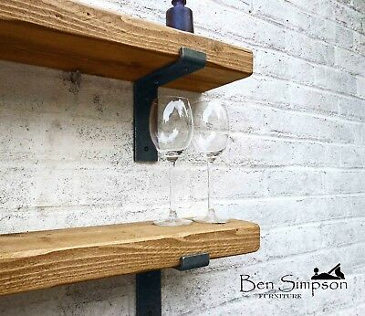Rustic Shelves Chunky Solid Wood Wall Brackets Included BEN SIMPSON FURNITURE