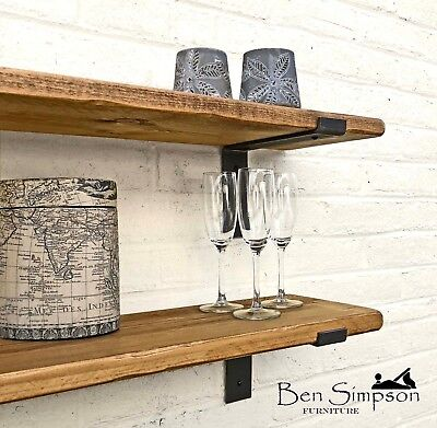 Rustic Thin Industrial Shelf Shelves Metal Brackets Solid Wood 15cm Depth TLB15