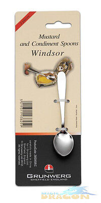 Mustard Condiment Spoons Sheffield Stainless Steel Windsor Set of 2