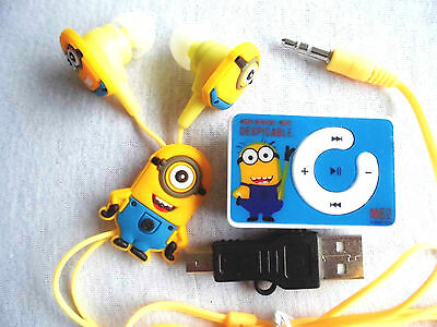 Despicable Me Minion Portable Mp Player With Accessories  Cable Headphones