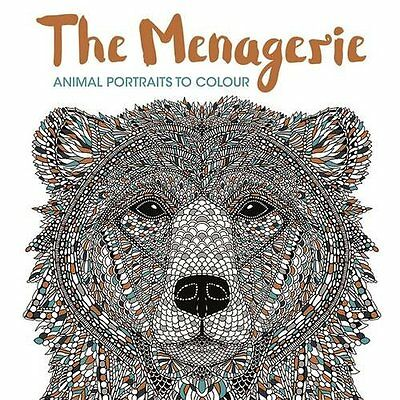 The Menagerie Animal Adult Colouring Book Anti Stress Calm Art Therapy Patterns